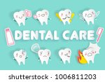 tooth with dental care on the... | Shutterstock .eps vector #1006811203