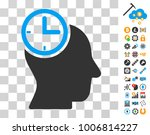 time thinking head icon with...