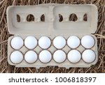 dozen organic white egg on... | Shutterstock . vector #1006818397