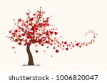 valentine's day card  love tree ... | Shutterstock .eps vector #1006820047