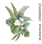 tropical leaves and flowers.... | Shutterstock .eps vector #1006820413