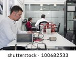 young workers in their working... | Shutterstock . vector #100682533