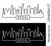 seoul skyline. linear style.... | Shutterstock .eps vector #1006838137