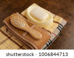 soap  bath towels and hairbrush.... | Shutterstock . vector #1006844713