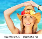 Happy Young Woman On The Beach...