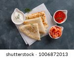appetizing pancakes with salmon ...   Shutterstock . vector #1006872013