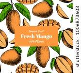 vector frame with mango .hand... | Shutterstock .eps vector #1006873603