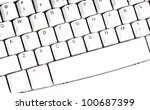 close up on black letters on white pc computer keyboard - stock photo