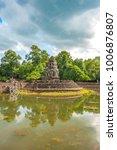 Small photo of Ancient buddhist khmer temple in Angkor Wat, Cambodia. Neak Pean Prasat