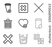 delete icons. set of 9 editable ... | Shutterstock .eps vector #1006890013