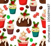 christmas seamless pattern with ... | Shutterstock .eps vector #1006894687