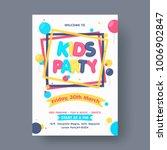 Kids Party Flyer or Banner Design. | Shutterstock vector #1006902847