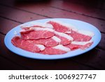 Small photo of Fresh fatten able beef sliced on the dish.