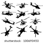 AH-64 Apache Longbow helicopter silhouettes set. Vector on separate layers
