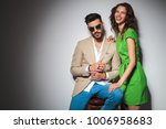 seated man in sunglasses and a... | Shutterstock . vector #1006958683