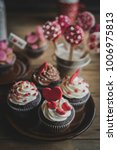 sweet cupcakes with hearts on... | Shutterstock . vector #1006975813