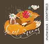 cute dreaming fox  baby animal... | Shutterstock .eps vector #1006978813
