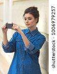stylish beautiful woman in...   Shutterstock . vector #1006979257