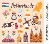 vector icon set of netherlands... | Shutterstock .eps vector #1006982053