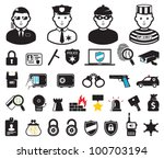 Crime world symbols, set - stock vector