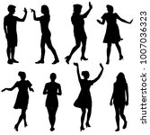 silhouette group of people... | Shutterstock .eps vector #1007036323