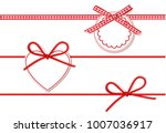 set of beautiful red bow and... | Shutterstock .eps vector #1007036917