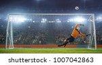 soccer goalkeeper in action on... | Shutterstock . vector #1007042863
