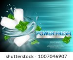 mint flavor gum ad with leaf...   Shutterstock .eps vector #1007046907