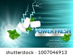 mint flavor gum ad with leaf... | Shutterstock .eps vector #1007046913