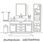 vector interior in a linear... | Shutterstock .eps vector #1007049943