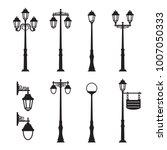 city street silhouette set | Shutterstock .eps vector #1007050333