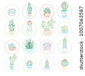 vector linear cacti and... | Shutterstock .eps vector #1007063587