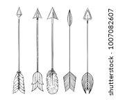 tribal indian arrow set. | Shutterstock .eps vector #1007082607