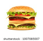 realistic hamburger classic... | Shutterstock .eps vector #1007085007