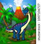 cute cartoon diplodocus. vector ... | Shutterstock .eps vector #1007106727