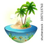 paradise tropical island in sea.... | Shutterstock .eps vector #1007115763
