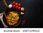stir fry noodles in traditional ...   Shutterstock . vector #1007139013