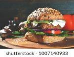 veggie  vegan burger with...   Shutterstock . vector #1007140933