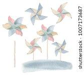watercolor childhood clipart....   Shutterstock . vector #1007173687