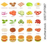 burger ingredient icons set.... | Shutterstock .eps vector #1007197087