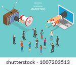 inbound vs outbound marketing... | Shutterstock .eps vector #1007203513