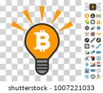 bitcoin bulb shine pictograph...