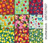 fruit pattern seamless vector... | Shutterstock .eps vector #1007227027