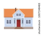 modern cottage  front view ... | Shutterstock .eps vector #1007248483