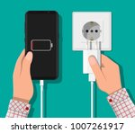 smartphone and charger adapter. ... | Shutterstock .eps vector #1007261917
