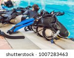 equipment for diving is on the... | Shutterstock . vector #1007283463