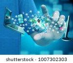 businessman holding network | Shutterstock . vector #1007302303