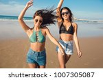two beautiful female friends in ... | Shutterstock . vector #1007305087