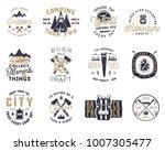 vintage hand drawn travel badge ... | Shutterstock .eps vector #1007305477
