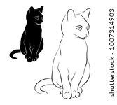 cat silhouette on a white...   Shutterstock .eps vector #1007314903